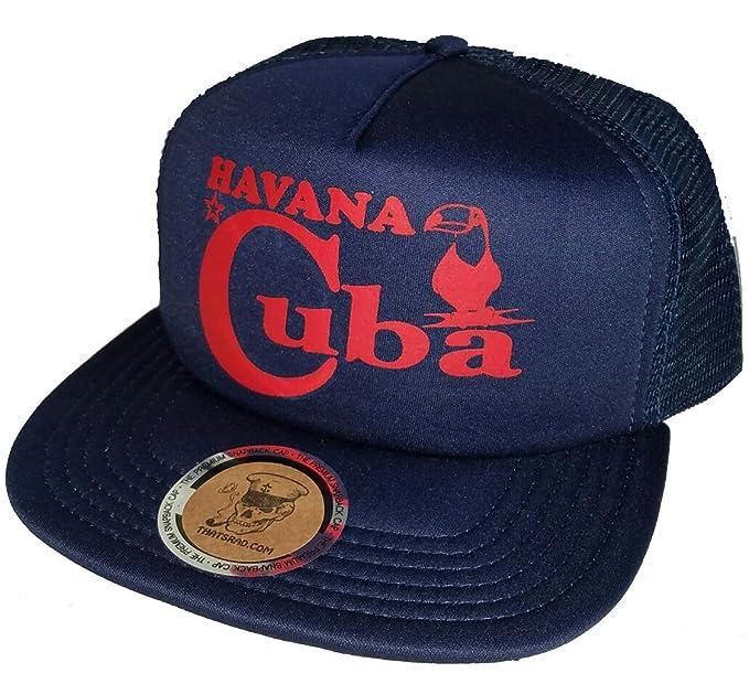 7d324e34d81 Image Unavailable. Image not available for. Color  Havana Cuba Flat Brim  Low Profile Navy Mesh Trucker Hat ...