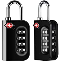 Diyife TSA Luggage Locks, [Newest Version][2 Packs] 4-Digit Security Padlock, Combination Padlocks, Code Lock for Travel Suitcases Luggage Bag Case etc. Black