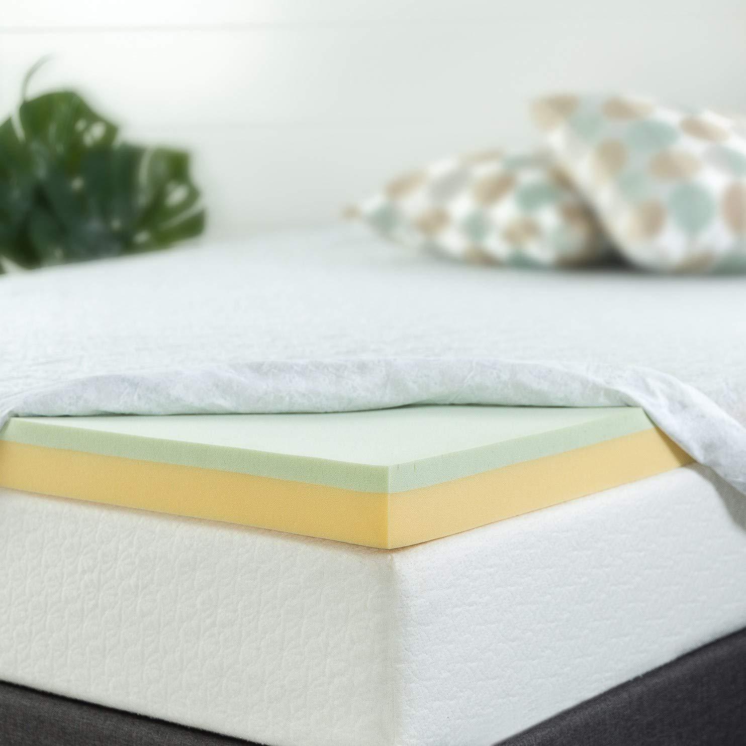 Zinus 4 Inch Green Tea Memory Foam Mattress Topper, Queen by Zinus
