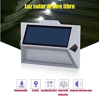 Foco Solar Exterior Luz Solar 8 LED 1200mAh Lámparas Solares de Pared Impermeable Luz de solar, Luces de Exterior con Sensor de Movimiento Batería Solar Exterior para Jardín,Patio,Camino,Escalera: Amazon.es: Iluminación