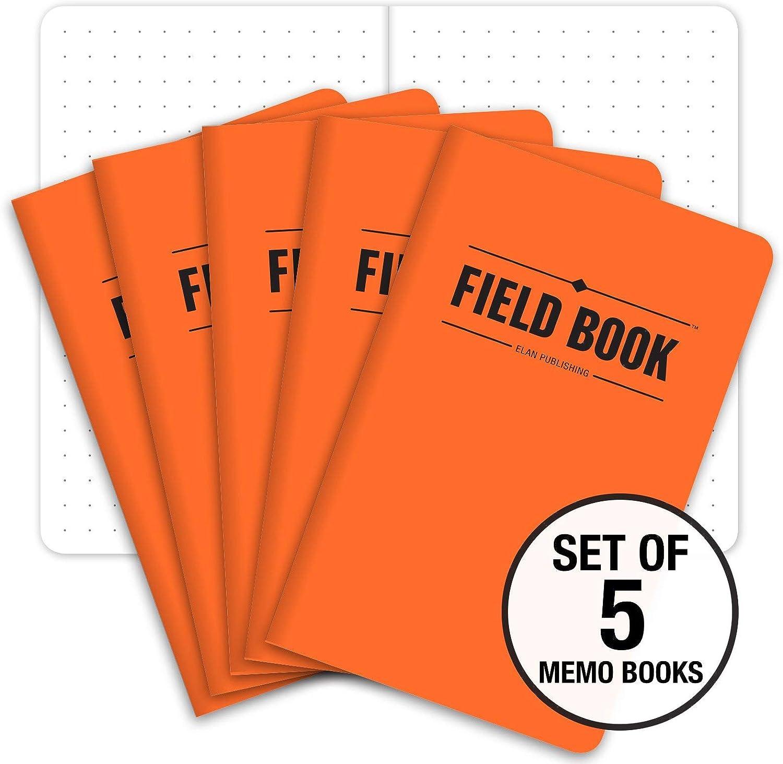 "Field Notebook/Pocket Journal - 3.5""x5.5"" - Orange - Dot Graph Memo Book - Pack of 5"