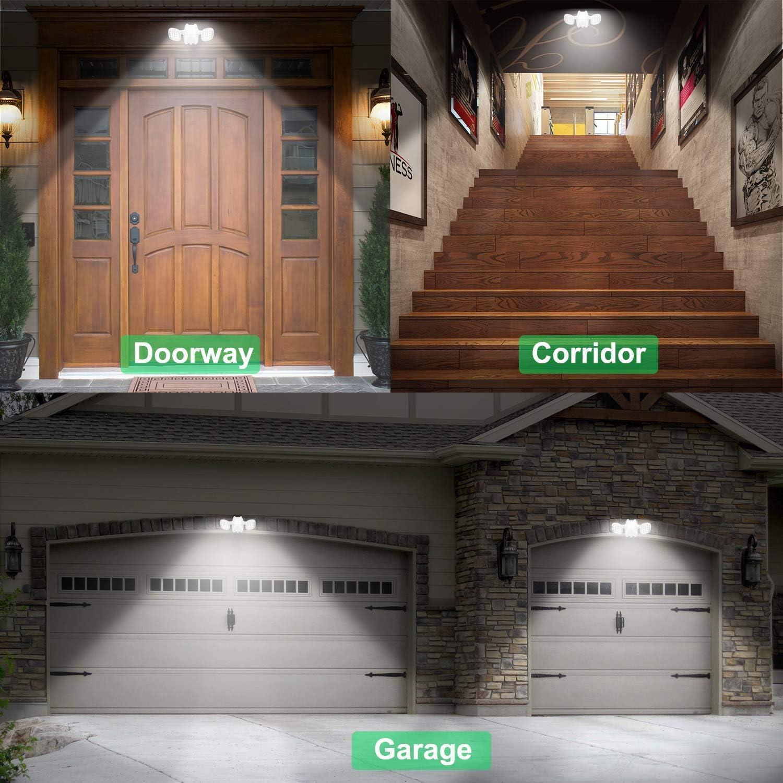 HONWELL Luz Foco Exterior Sensor de Movimiento Luz de Seguridad a Pilas con Cabezales Dobles,6000K Blanco,IP65 Lámpara de Impermeable Ajustable Iluminación para Escaleras, Entrada, Jardín-Blanco: Amazon.es: Iluminación