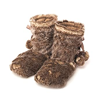 Warmies Wolf Fur Lavender Microwavable Slipper Boots
