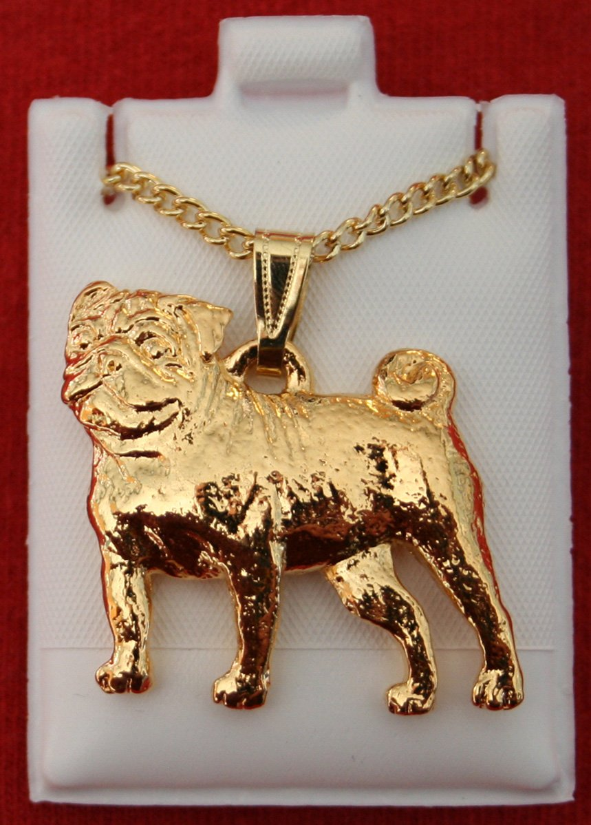 Pug Dog 24k Gold Plated Pewter Pendant with Chain Necklace Set