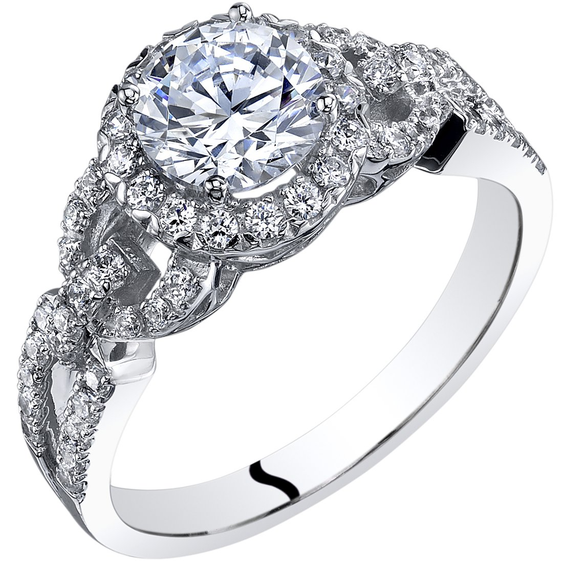 14k White Gold Cubic Zirconia Engagement Ring 1.00 Carat Center Size 8