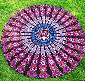 "ChezMax Indian Round Roundie Beach Towel Throw Chiffon Circle Yoga Mat Hippie Tapestry Tablecloth Sunscreen Shawl Black 59"" X 59"""