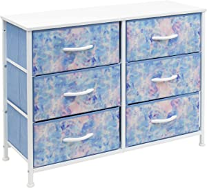 Sorbus Dresser with 6 Drawers - Furniture Storage Chest for Bedroom Tower Unit Furniture, Hallway, Closet, Office Organization - Steel Frame, Wood Top, Tie-dye Fabric Bins (6-Drawer, Pink/Blue)