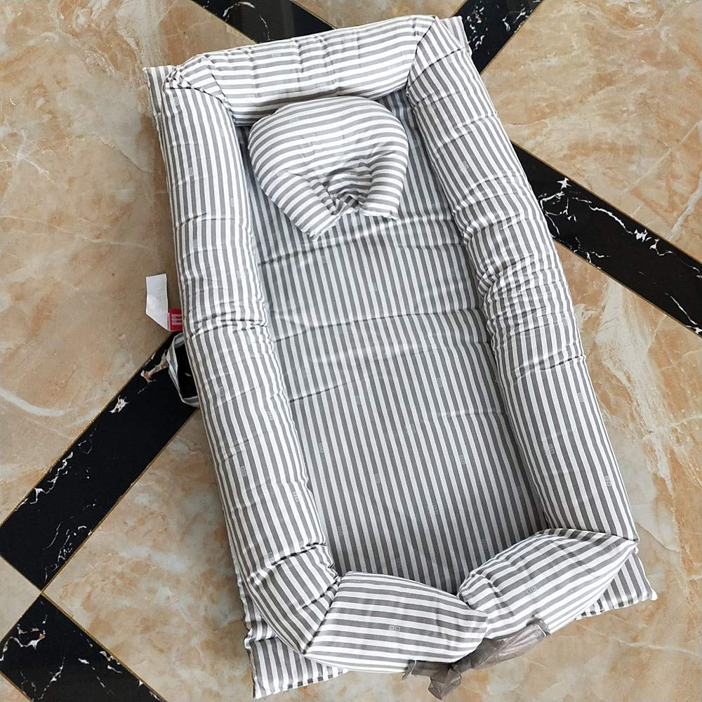 Poowe Baby Cot with Quilt (0-24 Months) Detachable Baby Isolated Bed Newborn Baby Sleeping Artifact Collapsible Bionic Bed (Grey Stripe)