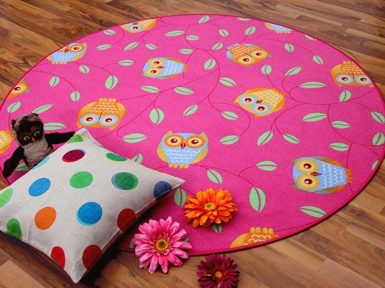 Kinder Spielteppich Eule Lila Pink Rosa Rund in 7 Größen