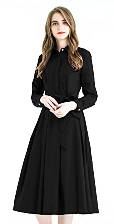 9312ad2e5c79 Zredurn Women's Elegant Pleated Shirt Dress with Long Sleeve Pleated Belted  A-Line Dress Style