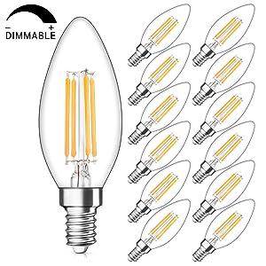 SHINE HAI Candelabra LED Filament Bulbs Dimmable 40W Equivalent, 2700K Warm White Chandelier B11 LED Bulb E12 Base Decorative Candle Light Bulb, Pack of 12
