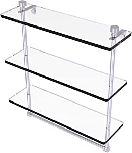 Allied Brass FT-5/16TB Foxtrot Collection 16 Inch Triple Tiered Integrated Towel Bar Glass Shelf, Satin Nickel