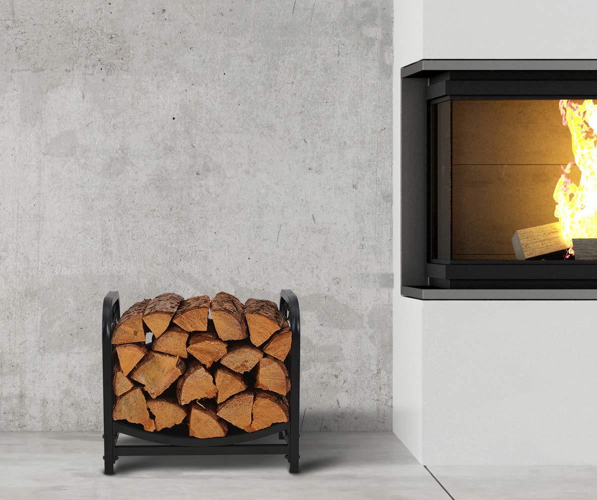 Patio Watcher Deluxe Firewood Rack Log Rack Firewood Storage Log Holder for Indoor Outdoor Backyard Fireplace Heavy Duty Steel/Black