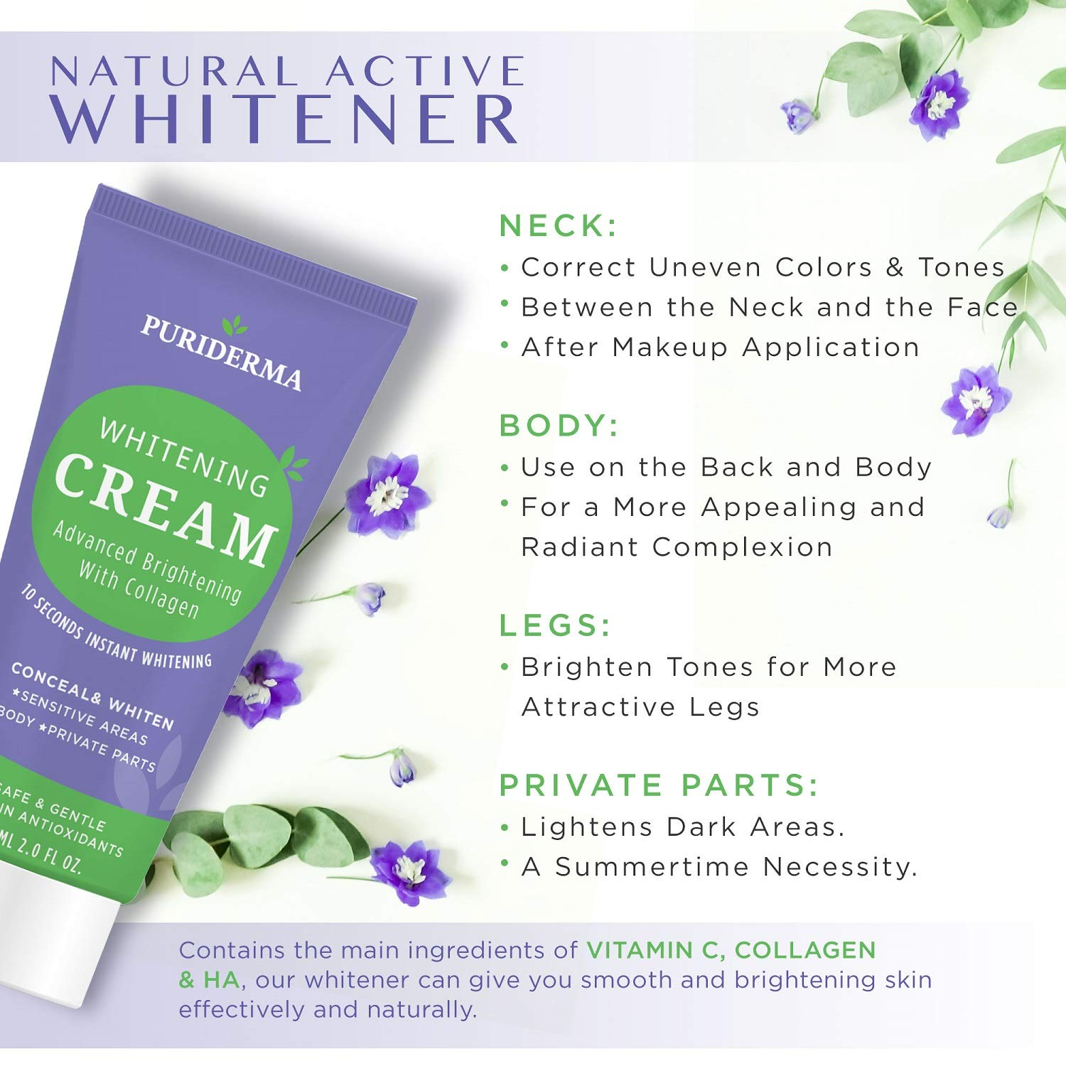Puriderma All-Body Whitening Cream, Advanced Brightening With Collagen, Whitens and Lightens Discolored and Damaged Skin - for Underarm, Legs, Knees, Bikini Line