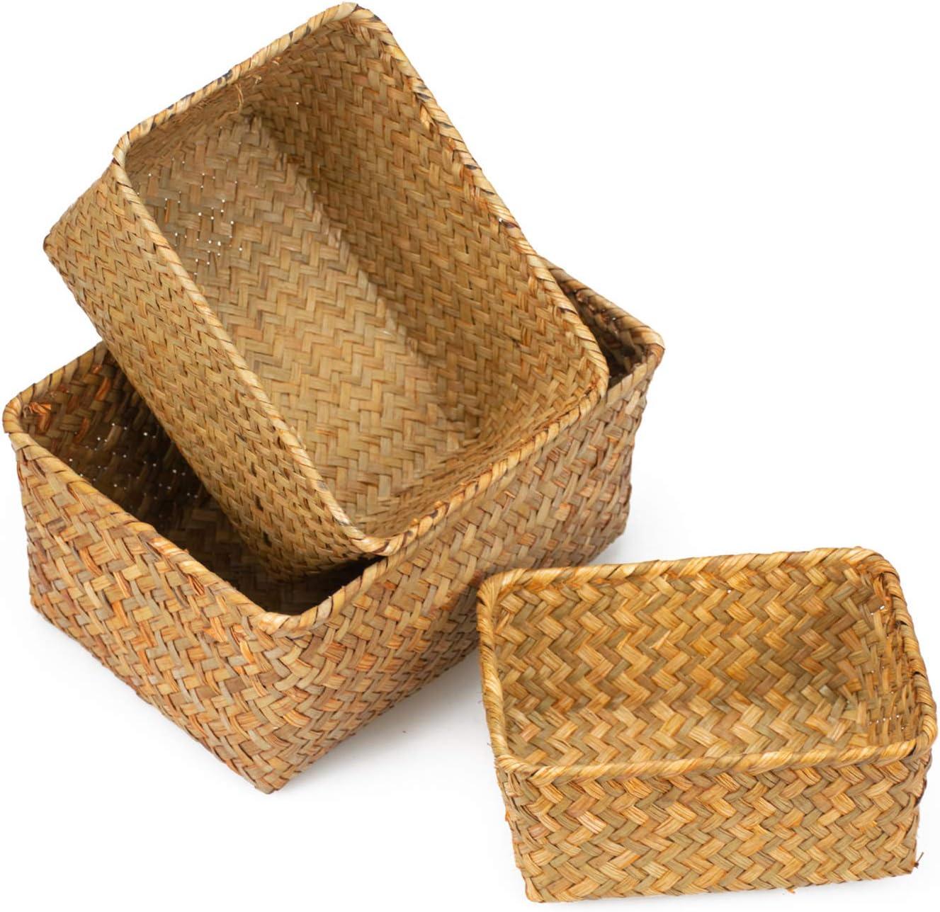 Yesland Seagrass Storage Basket, Multisize Handmade Rattan Shelf Baskets & Home Storage Bins Baskets for Decoration, Picnic, Groceries and Toy Storage(Set of 3)