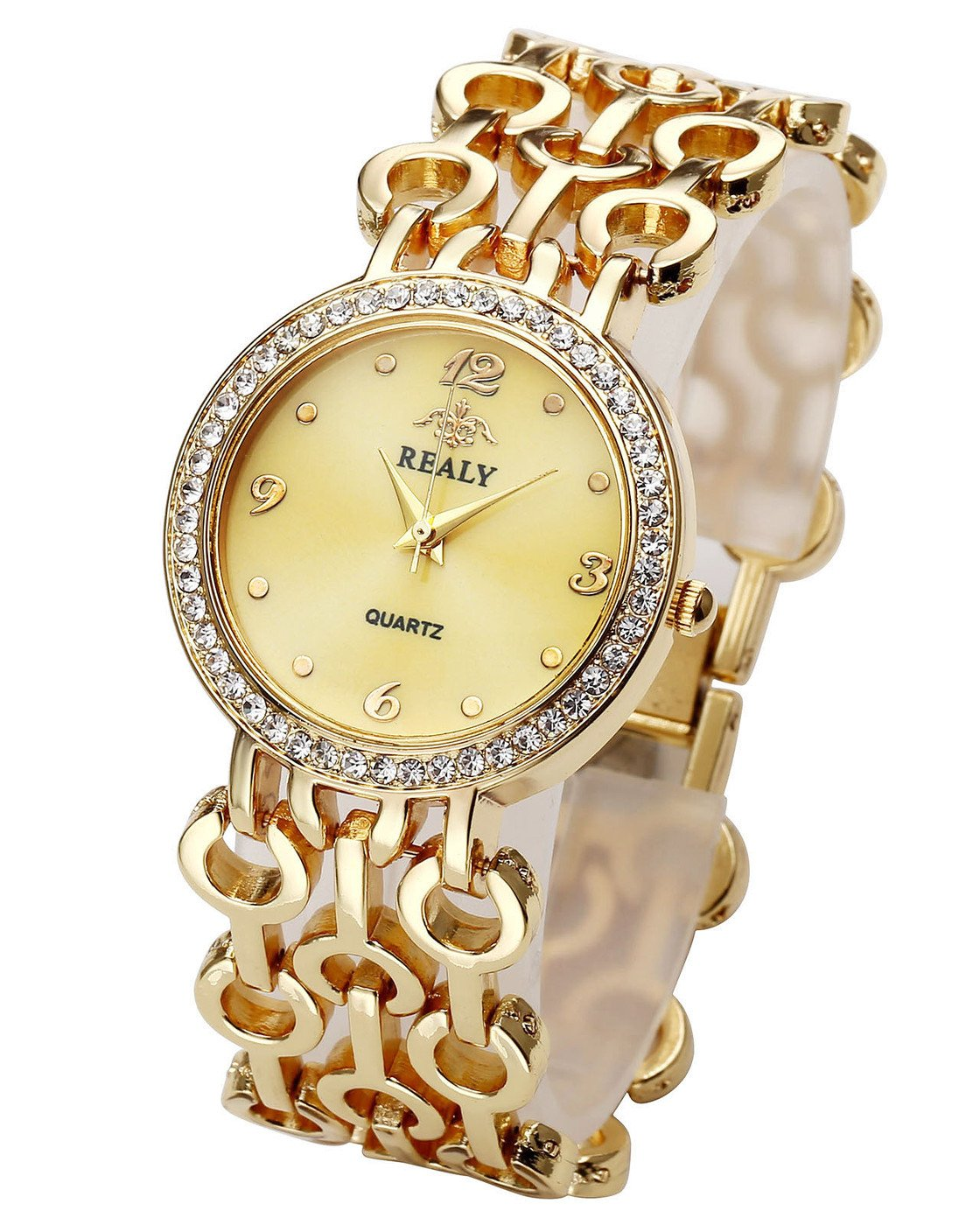 Top Plaza Women Elegant Fashion Bracelet Analog Quartz Watch Gold Tone Rhinestone Case Big Face Large Dial Wide Band Waterproof Cuff Watch