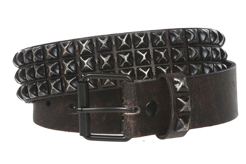 BBBelts Men 1-3//4 Black 100/% Leather Rustic Pyramid Studs Roller Buckle Belt