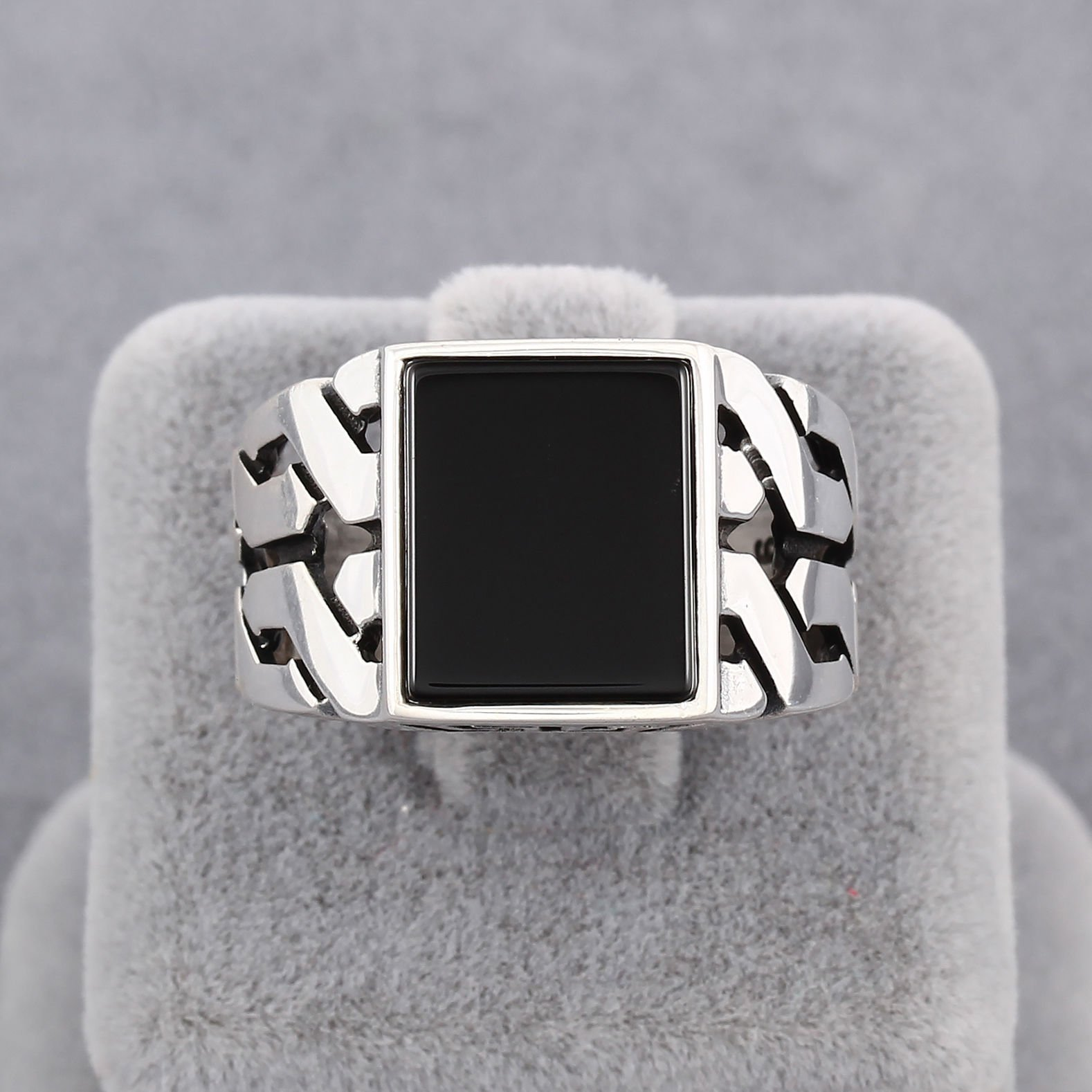 Chimoda Turkish Handmade Jewelry Black Onyx Stone 925 Sterling Silver Men's Ring (9) by Chimoda (Image #4)