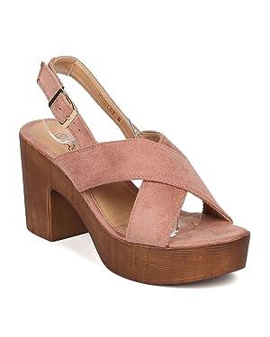 Women Faux Suede Block Heel Sandal - Platform Chunky Heel - Faux Wooden Slingback Heel - GI49 By Alrisco - Mauve Faux Suede (Size: 10)