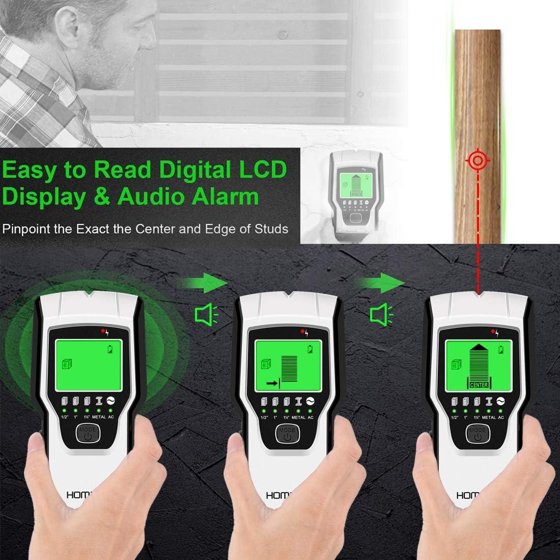 Cable Detector De Pared Alambre Buscador del Detector De Madera con Pantalla LCD para Tuber/ías De Madera AC//Alambre De Metal Corrugado Esp/árragos Detecci/ón Vigueta Huanxin Detector Digital