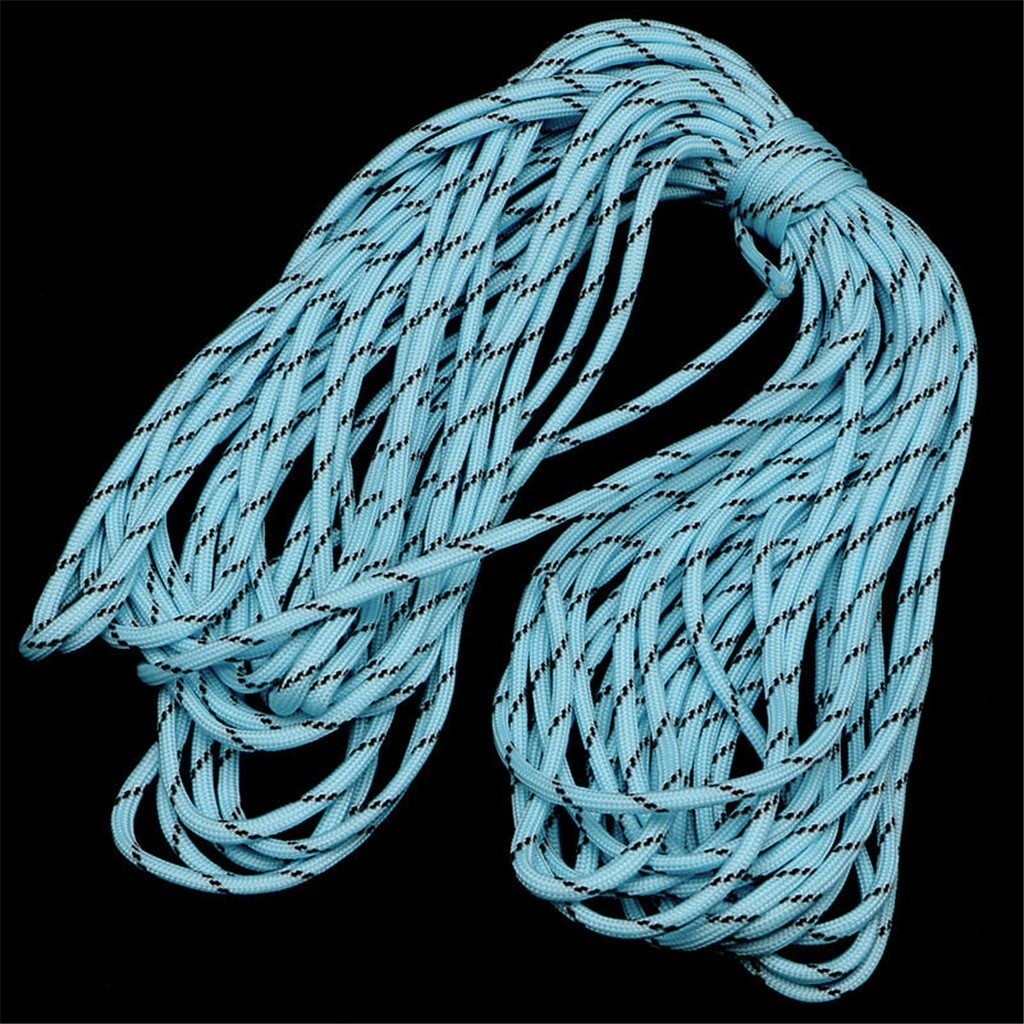 ULKEME 50FT PFY Reflective Luminous Parachute Cord Glow In The Dark Paracord 9 Strand Blue