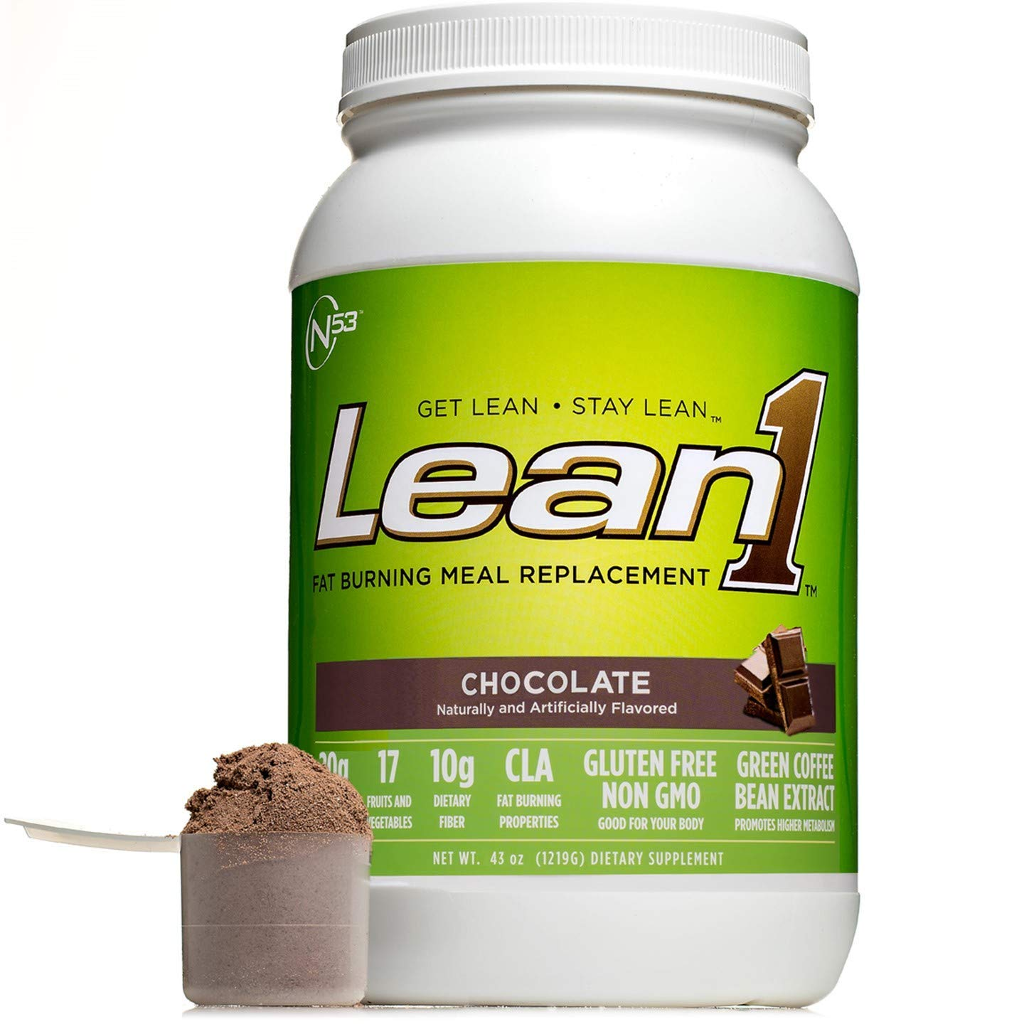 LEAN1 Chocolate Protein Powder Meal Replacement Shakes by Nutrition 53, Lactose & Gluten Free with Green Coffee Bean Extract, 23 Serving Tub - 43 oz by LEAN1