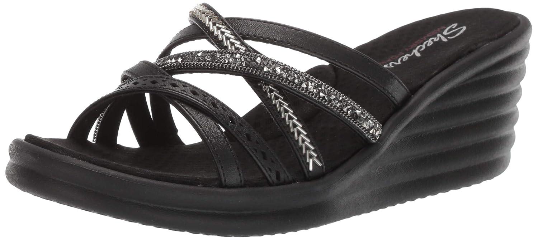 Women's Skechers, Rumbler Wave Sandal Wide Width 7 BLACK