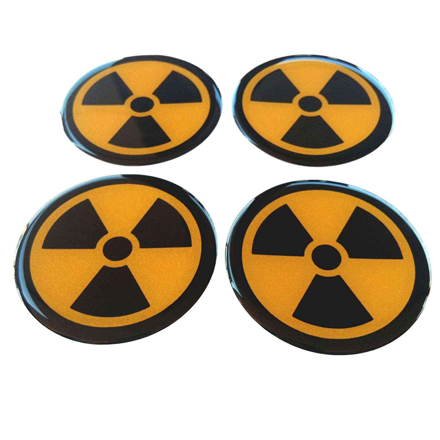 Nuclear 50 mm Radioactive Radiation Symbol Warning Sign Domed 3D Yellow Reflective on Black Wheel 4 Pcs Cap Hub Center Decals Sticker Badge Emblem for Racing Car Truck Safety Night High Visibility