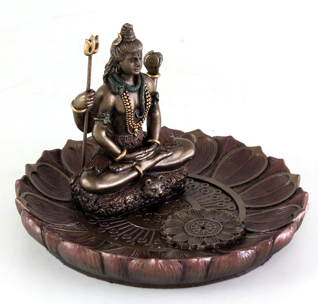 Top Collection Hindu God Shiva in Meditation Round Incense Holder Plate Incense Burner by Top Collection (Image #5)