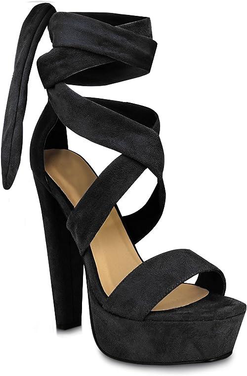 black platform sandals lace up