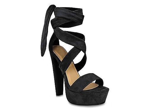 efd3720fd9f Chockers Shoes Womens Ladies Faux Suede Lace up Tie Block Heel Platform  Sandals (6 B