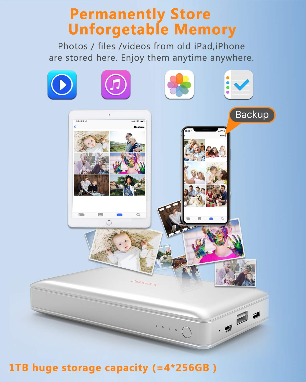 1000GB (1TB) Hard Drive External Storage for iPhone 5/6/7/8,X,XR,XS MAX,new  iPad Pro and MacBook and PC,USB+USB C Data Photos Backup Flash Drive (APP