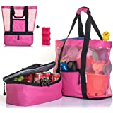 Beach Bag With Detachable Insulated Cooler include FREE Ice Pack. Durable and Lightweight Canvas Fabric Mesh Tote. One Beach Bag is all you need for a sunny day at the Beach, Pool or Picnic