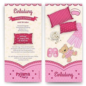 Einladungen (10 Stück) Pyjama Party Geburtstag Übernachtung ...