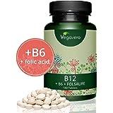 Vitamina B12 Vegavero® 1000mcg | Apta Para Veganos | LA ÚNICA CON B6 + ÁCIDO FÓLICO (B9) | 180 Comprimidos | Ganador Eco-Test 2015 | Energía + Estado de Ánimo + Anemia