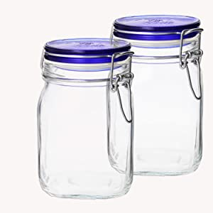 Bormioli Rocco SYNCHKG055590 Fido Square Jar Lid-33¾ oz 1L (2 Pack), 33.75oz Blue
