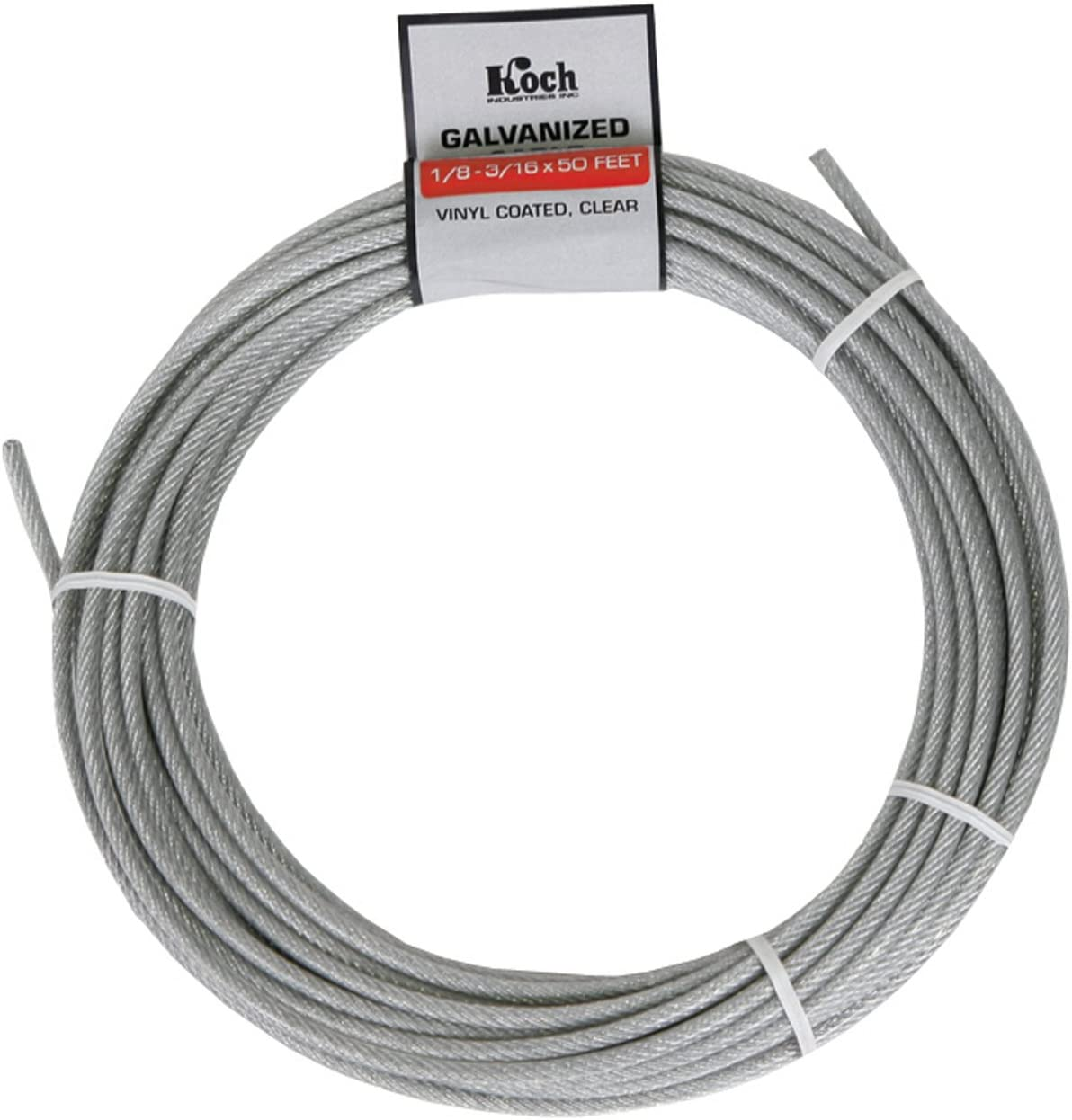 1500 Feet 1//8-3//16 Clear Vinyl Coated Galvanized Aircraft Cable Steel Wire Rope 7x7