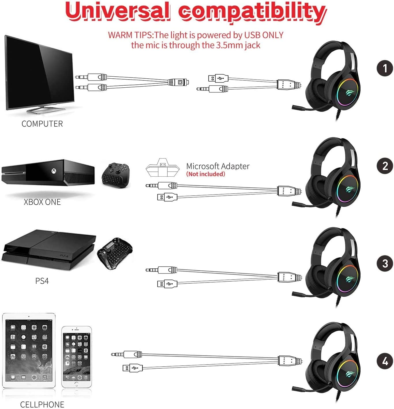 havit RGB Wired Gaming Headset PC USB 3.5mm XBOX PS4 Headsets with 50MM Driver, Surround Sound & HD Microphone, XBOX One Gaming Overear Headphones