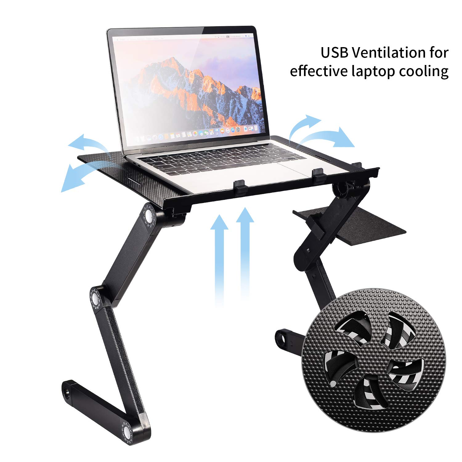 UYGHHK Portable Laptop Desk Laptop Stand,Adjustable Tabletop with 2 CPU Cooling Fans and Mouse Pad Aluminum Ergonomics Design Cozy Desk TV Bed Lap Tray Stand Up/Sitting