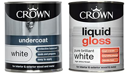 Crown Liquid Gloss Pure Brilliant white (Paint Pack Deal) for Wood
