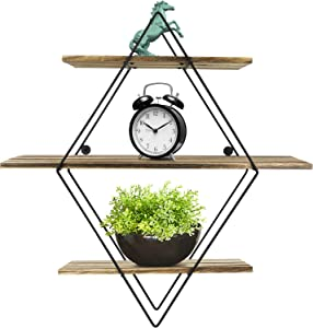 Greenco Geometric Diamond Shaped 3 Tier Mounted Floating, Home Decor, Metal Wire and Rustic Wood Wall Storage Shelves for Bedroom, Living Room, Bathroom, Kitchen, Office etc
