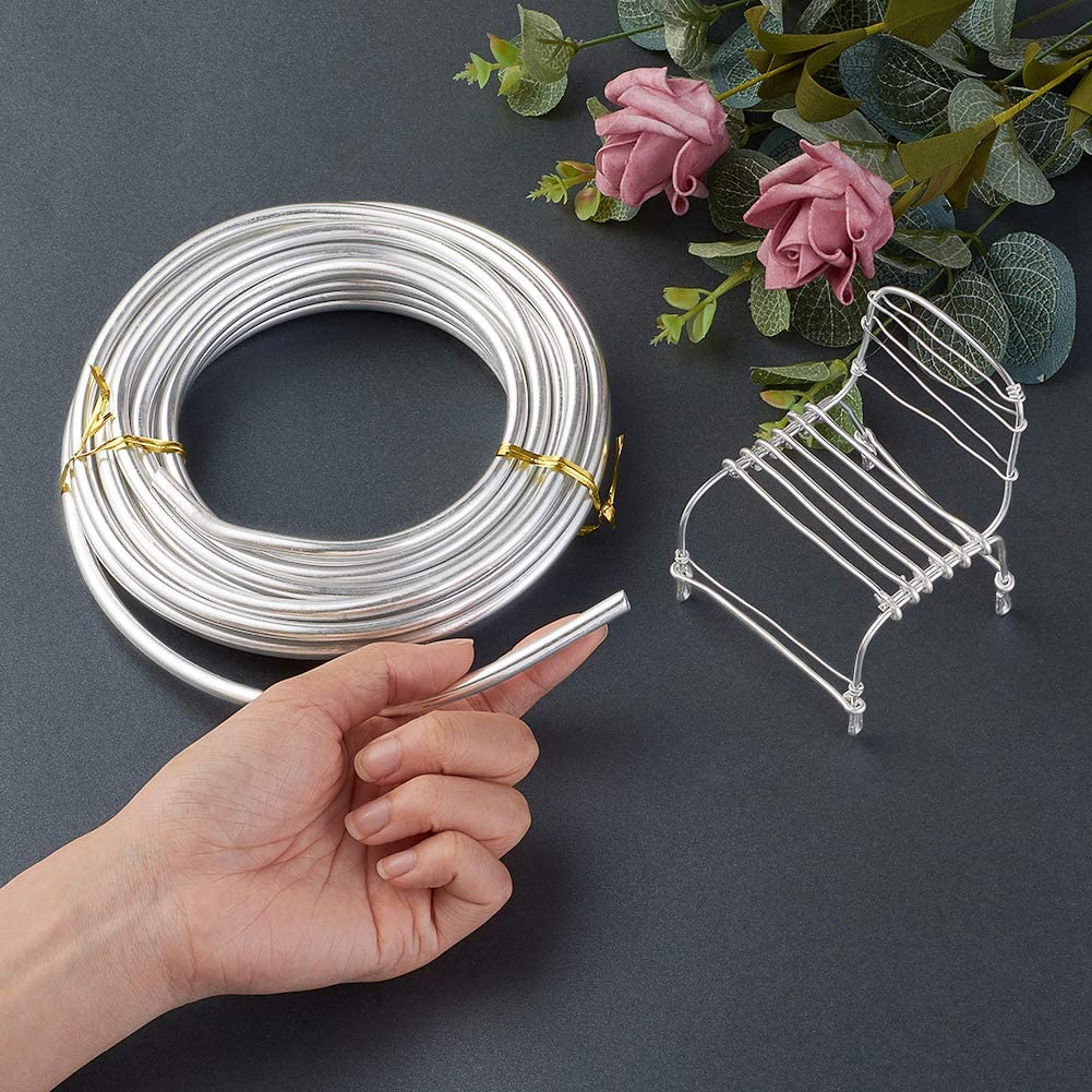 Fashewelry 32.8 Feet 18 Gauge Aluminum Wire Silver Bendable Metal Craft Wire for Beading Jewelry Craft Making