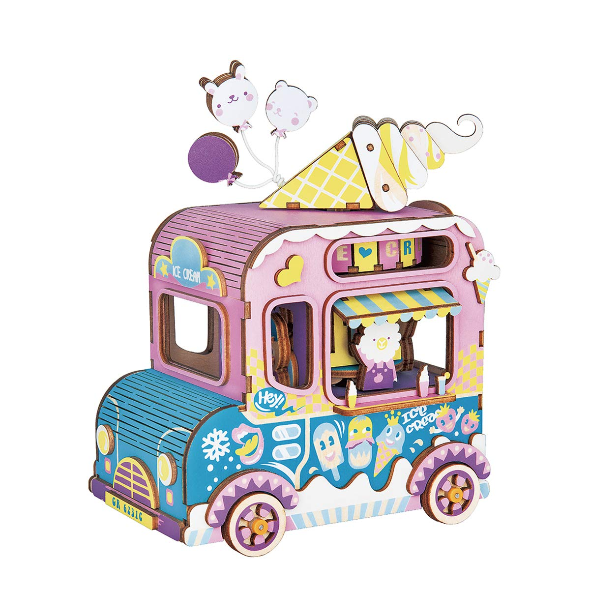 Rolife Dream Hand Crank Music Box with Inner Machine-3D Wooden Puzzle DIY Assemble Toys-Creative Gift for Christmas/Birthday/Valentine's Day for Kids Children Girl Friends (Ice Cream Car)