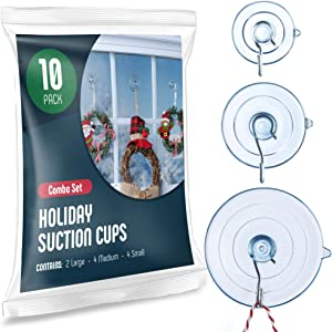 All-Purpose Holiday suction cup hooks [10PK Combo Set] Powerful window suction cups with hooks Use To Hang On glass, Windows, Doors, Mirrors, Tiles. Set Includes: 2 Large, 4 Medium, 4 Small - USA Made