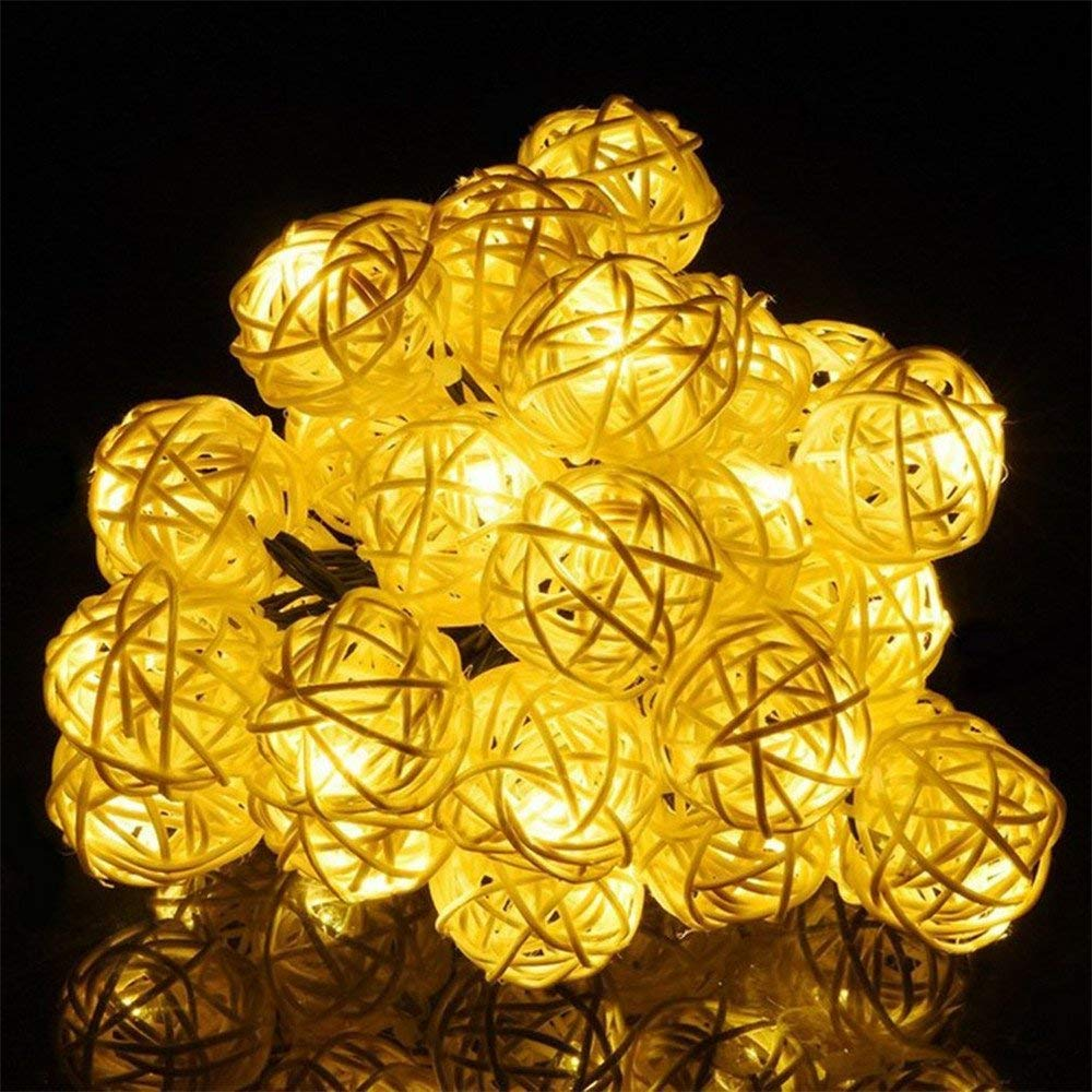 MeiLiio Solar String Light 30 LED Rattan Ball Decorative Ambiance Hanging Solar Powered Fairy Lights for Garden Lawn Landscape Home Holiday Decorations Xmas Tree (Warm White)