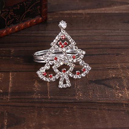 Christmas Tree Napkin Rings.Amazon Com Multi Color Christmas Tree Napkin Ring 12 Red