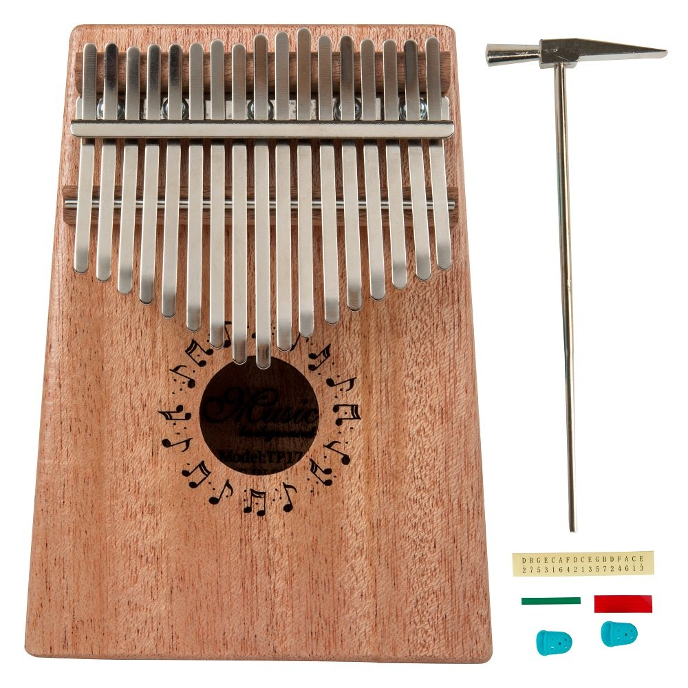 Youqianポータブル17キー親指ピアノ/ソリッド指ピアノマホガニーボディ/17トーンおもちゃMusical Instrument withメタルtune-hammer Grest Gift for Kids tp-17 B07D7VZGLL