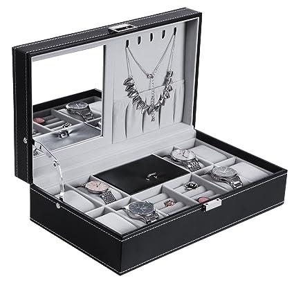 Nice BEWISHOME Watch Jewelry Box 8 Watch Organizer 3 Grids For Jewelry Display  Storage Men Woman Watch