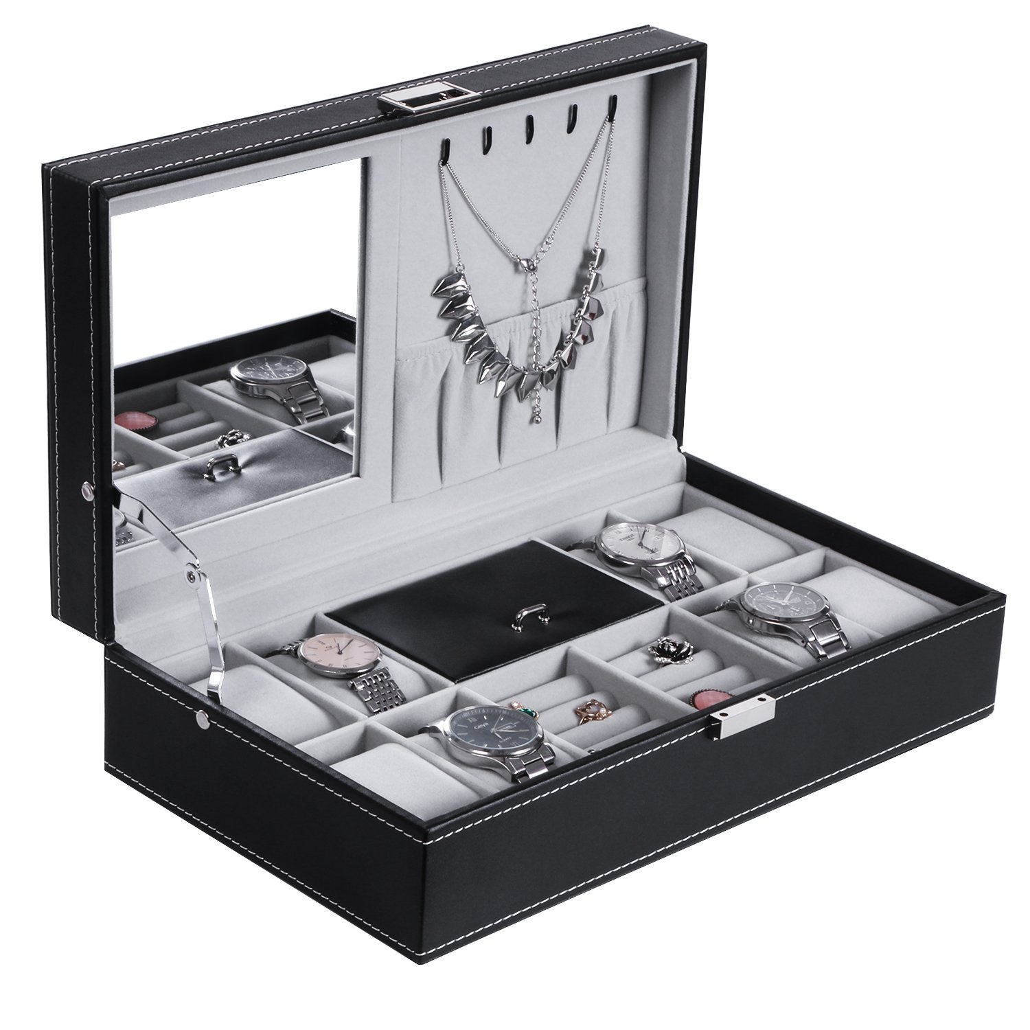 BEWISHOME Watch Jewelry Box 8 Watch Organizer 3 Grids for Jewelry Display Storage Men Woman Watch Case with Mirror and Metal Hinge Black PU Leather SSH05B