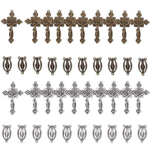 20 x Plata Tibetana Cruz Cruces Dijes Colgante Perlas